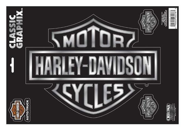 Harley-Davidson Embossed Bar & Shield Logo Chrome Decals - 9 x 13 in. CG3276 - Wisconsin Harley-Davidson