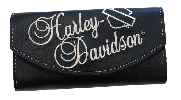 Harley-Davidson Women's Embroidered Organizer Wallet Black Leather LO810H-8 - Wisconsin Harley-Davidson