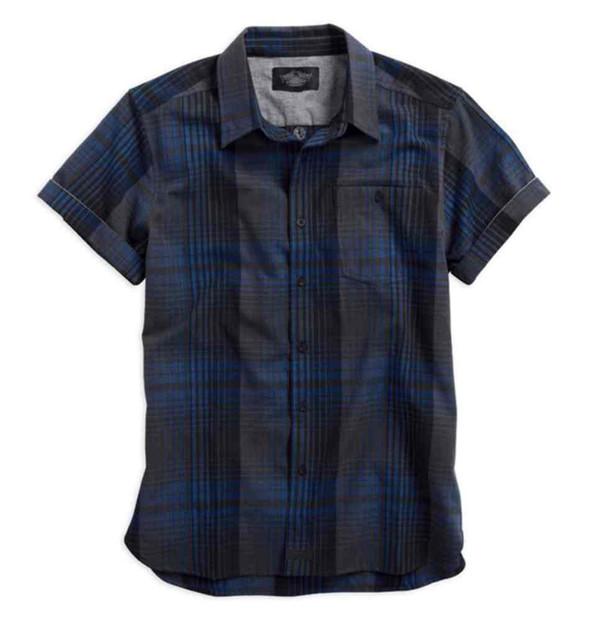 Harley-Davidson Men's Plaid Short Sleeve Woven Shirt, Blue & Black 96043-15VM - Wisconsin Harley-Davidson