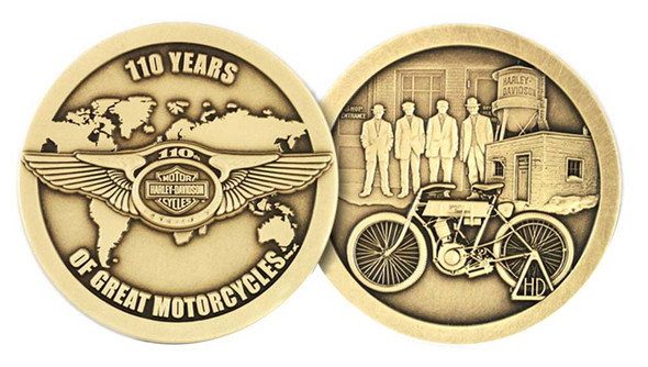 Harley-Davidson 110th Anniversary 1.75 In. Coin w/ Card Limited Edition HDMC0008 - Wisconsin Harley-Davidson