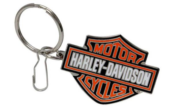 Harley-Davidson Bar & Shield Logo Enamel Key Chain, Orange Logo 4232 - Wisconsin Harley-Davidson