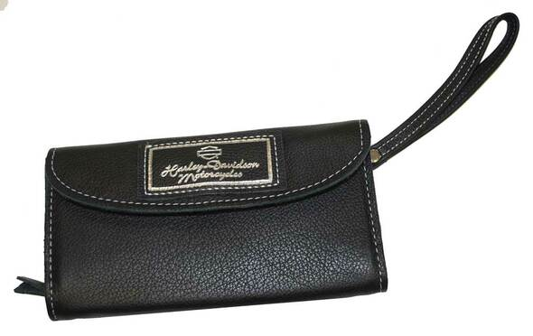 Harley-Davidson Women's H-D Organizer Wallet Black Leather, Wrist Strap LO827H - Wisconsin Harley-Davidson