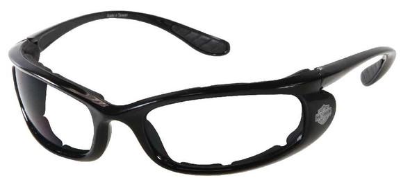 Harley-Davidson Mens Slick Shiny Black Frame Clear Lens Sunglasses HDS802BLK-22 - Wisconsin Harley-Davidson