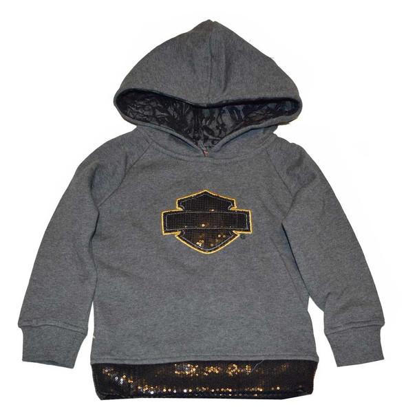 Harley-Davidson Little Girls' Hooded Sweatshirt, Sequined Pullover Gray 4321572 - Wisconsin Harley-Davidson