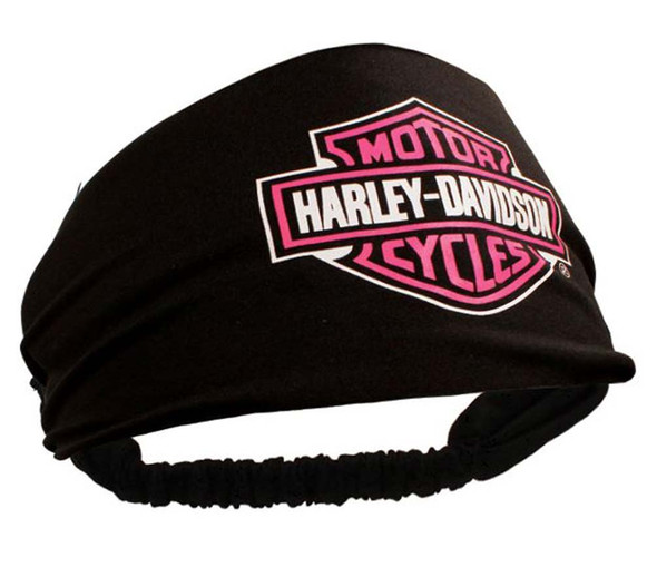Harley-Davidson Womens Scrunchie Pink Bar & Shield Black Headband HE30291 - Wisconsin Harley-Davidson