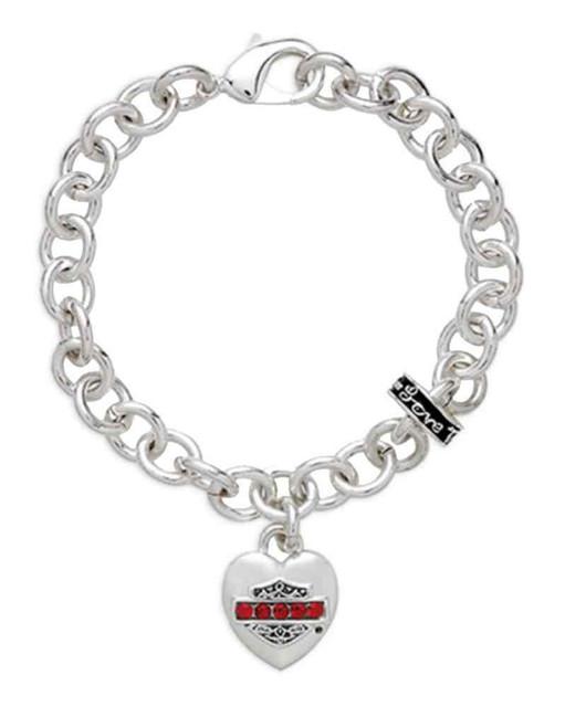 Harley-Davidson Women's Red Rhinestone Heart Charm Bracelet, Silver 97844-16VW - Wisconsin Harley-Davidson