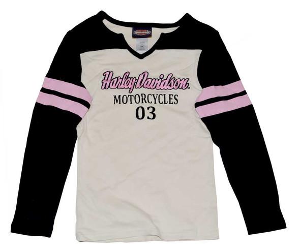 Harley-Davidson Little Girls' Tee, H-D Script Long Sleeve Knit Shirt 3231324 - Wisconsin Harley-Davidson