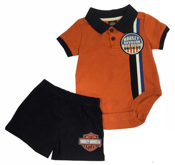 Harley-Davidson Baby Boys' Interlock Short Top Set, White/Black/Orange. 2061573 - Wisconsin Harley-Davidson