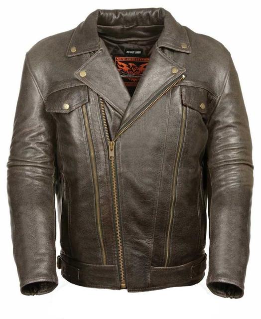 Milwaukee Leather Men's Retro Brown Utility Pocket M/C Jacket ML1018RT - Wisconsin Harley-Davidson
