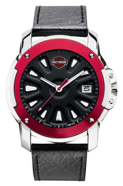 Harley-Davidson Men's Watch, Spoke Design, Red Top Ring w/ Leather Strap 78B119 - Wisconsin Harley-Davidson