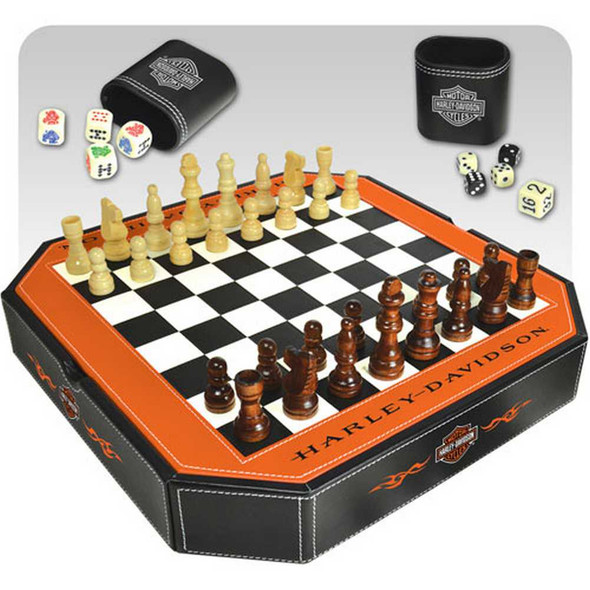 Harley-Davidson 4 in 1 Game Set  Checkers, Chess, Backgammon, Dice 66917 - Wisconsin Harley-Davidson