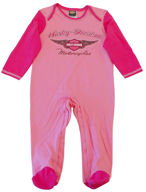 Harley-Davidson Baby Girls' Footed Coverall Sleeper, Two Toned Pink. F9LGI88HD - Wisconsin Harley-Davidson