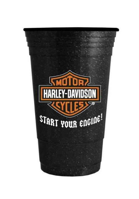 Harley-Davidson Glitter Heavyweight Hard Plastic Cup, Bar & Shield 16 oz. - Wisconsin Harley-Davidson
