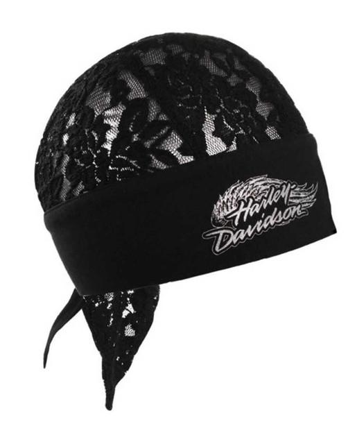 Harley-Davidson Women's Winged Text Flowered Lace Head Wrap Black HW03730 - Wisconsin Harley-Davidson