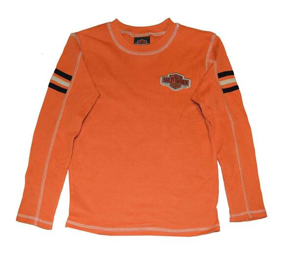 Harley-Davidson Little Boys' Thermal Shirt, Bar & Shield LS Tee Orange 3381488 - Wisconsin Harley-Davidson