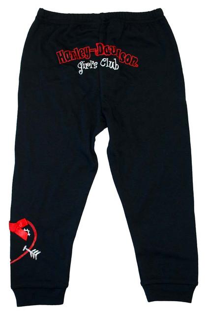 Harley-Davidson Little Girls' Interlock Pull-On Lounge Pants Black 4121178 - Wisconsin Harley-Davidson
