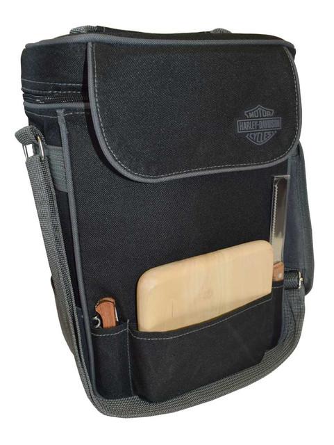 Harley-Davidson Duet Wine Tote, Bar & Shield Logo w/ Cheese Board & Knife 623-04 - Wisconsin Harley-Davidson