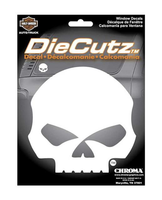 Harley-Davidson Die Cutz Willie G Skull Decal, High Quality White Vinyl CG40017 - Wisconsin Harley-Davidson