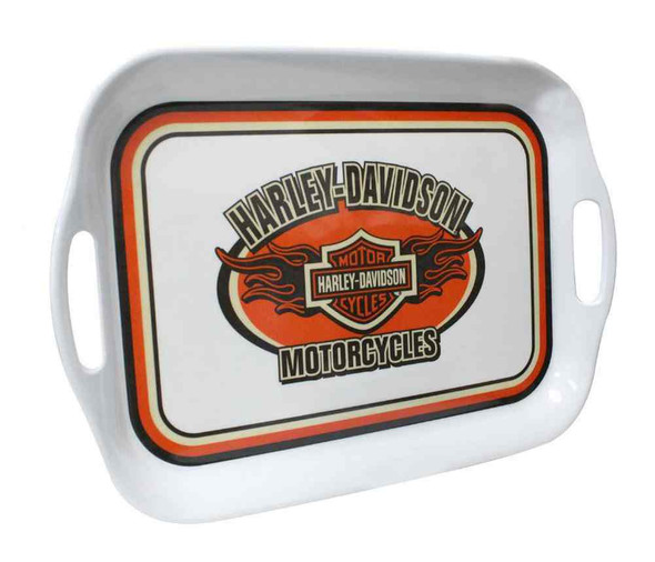 Harley-Davidson Flaming Bar & Shield Melamine Serving Tray, 16 inch HD-HD-908 - Wisconsin Harley-Davidson