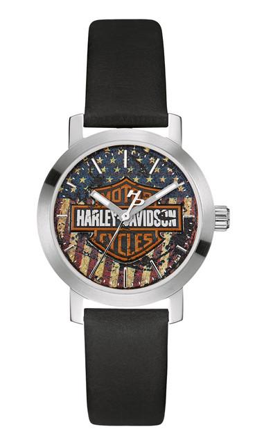 Harley-Davidson Women's Bulova Watch, American Flag Bar & Shield 76L174 - Wisconsin Harley-Davidson