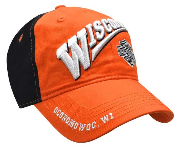 Wisconsin Harley-Davidson Bar & Shield Baseball Cap, Orange & Black BCCUS0302 - Wisconsin Harley-Davidson