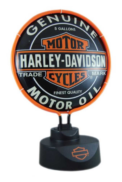 Harley-Davidson Oil Can Bar & Shield Neon Desk Light, Black HD-OIL-893 - Wisconsin Harley-Davidson