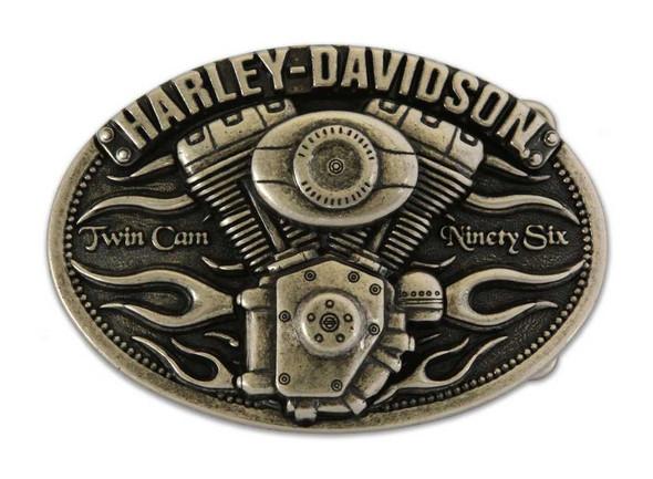 Harley-Davidson Mens Belt Buckle Twin Cam 96 Chrome HDMBU10075 - Wisconsin Harley-Davidson