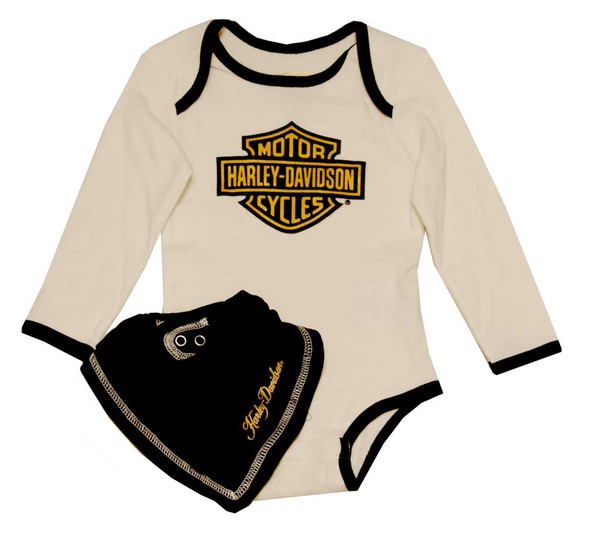 Harley-Davidson Baby Girls' Creeper & Bib Set, Gold B & S Gift Set 4302398 - Wisconsin Harley-Davidson