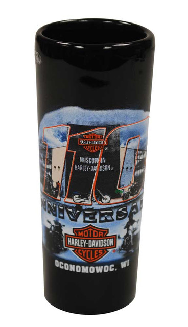 Harley-Davidson 110th Anniversary Tall Shot Glass Black 110-SHOT - Wisconsin Harley-Davidson