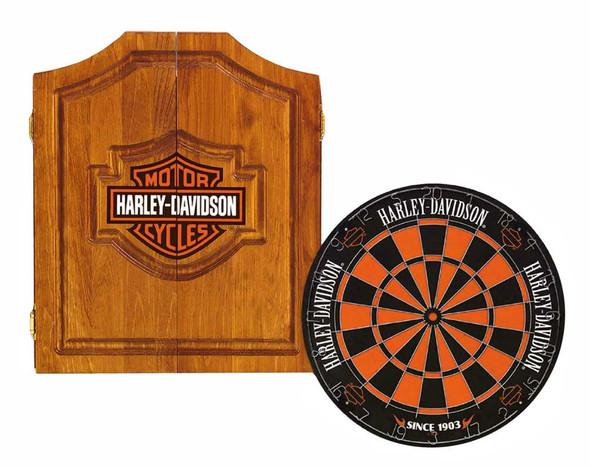Harley-Davidson Bar & Shield Darts Kit: Cabinet, Dartboard, Darts & Throw Line - Wisconsin Harley-Davidson