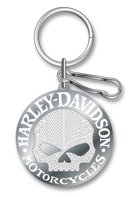 Harley-Davidson Studded Silver Harley Skull Key Chain P4340 - Wisconsin Harley-Davidson