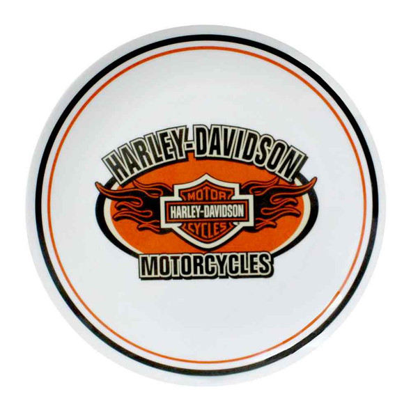 Harley-Davidson Flaming Bar & Shield Melamine Serving Plate, 10 inch HD-HD-910 - Wisconsin Harley-Davidson
