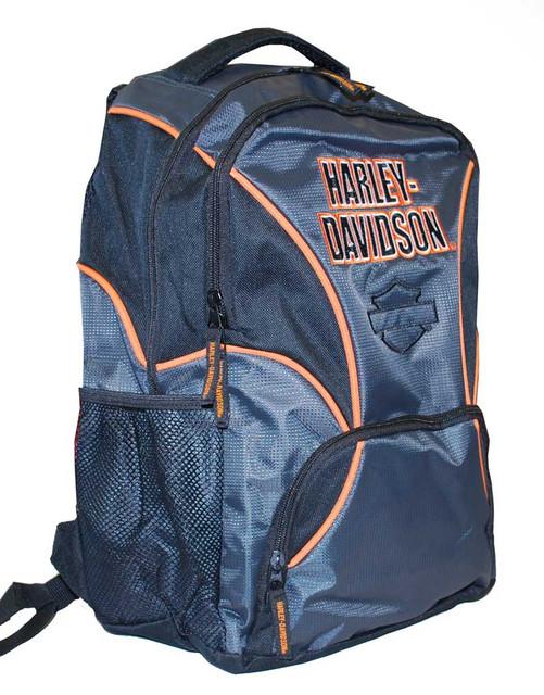 Harley-Davidson Boys' Black/Grey/Orange Canvas Backpack, Water Resistant 3180174 - Wisconsin Harley-Davidson