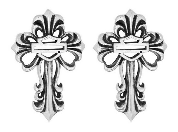 Harley-Davidson Women's Filigree Bar & Shield Cross Post Earrings HDE0310 - Wisconsin Harley-Davidson