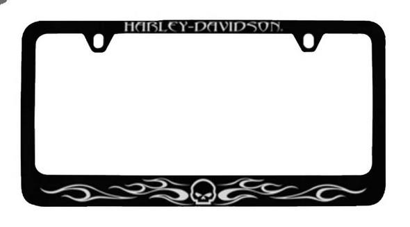Harley-Davidson Flames Willie G. Skull License Plate Frame Black HDLFZK184 - Wisconsin Harley-Davidson