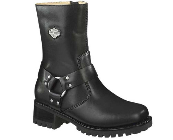 Harley-Davidson Women's Ashby Harness Zip Black Leather Motorcycle Boots D84187 - Wisconsin Harley-Davidson
