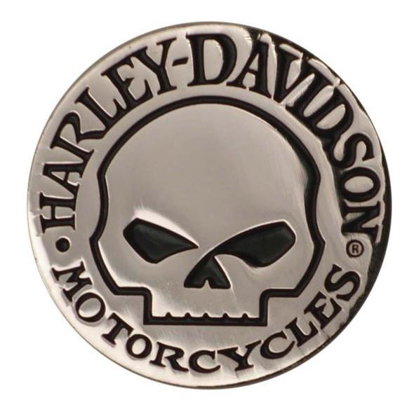Harley-Davidson Hubcap Skull 3D Die Cast Silver Magnet DM1029 - Wisconsin Harley-Davidson