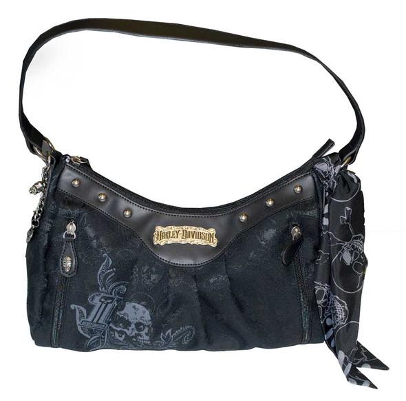 Harley-Davidson Women's Skull Jacquard Shoulder Bag Black Cotton SJ2191J-Black - Wisconsin Harley-Davidson