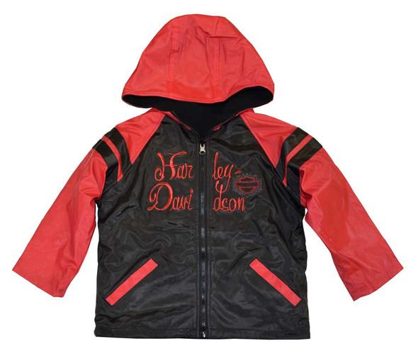 Harley-Davidson Little Girls' Windbreaker Jacket, Reversible Coat, Red 4236064 - Wisconsin Harley-Davidson