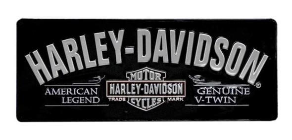Harley-Davidson V-Twin Bar & Shield Tin Sign 18 x 7-1/8 Black 2010681 - Wisconsin Harley-Davidson