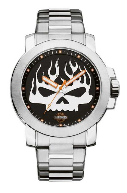 Harley-Davidson Men's Bulova Flaming Skull Wrist Watch 76A138 - Wisconsin Harley-Davidson