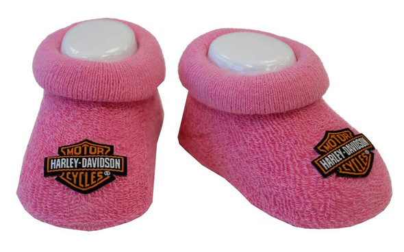 Harley-Davidson Baby Girls' Boxed Stretch Terry Booties, Pink S9LGL20HD (0/3M) - Wisconsin Harley-Davidson