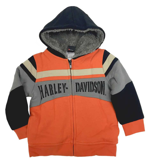 Harley-Davidson Little Boys' Colorblocked Sherpa Fleece Hoodie, Orange 6571678 - Wisconsin Harley-Davidson