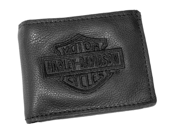 Harley-Davidson Mens Embroidered Bar & Shield Coin Pocket Wallet Black FB816H-2B - Wisconsin Harley-Davidson