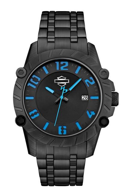 Harley-Davidson Men's Bulova Blue & Black Wrist Watch 78B132 - Wisconsin Harley-Davidson
