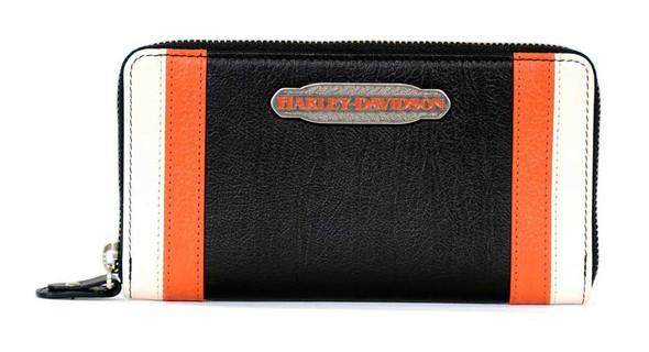 Harley-Davidson Women's Color Block Zip Around Clutch Wallet Org/Black CB6378L - Wisconsin Harley-Davidson