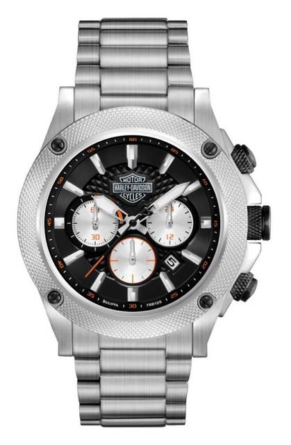 Harley-Davidson Men's Bulova Silver Tone Chronograph Wrist Watch 78B126 - Wisconsin Harley-Davidson