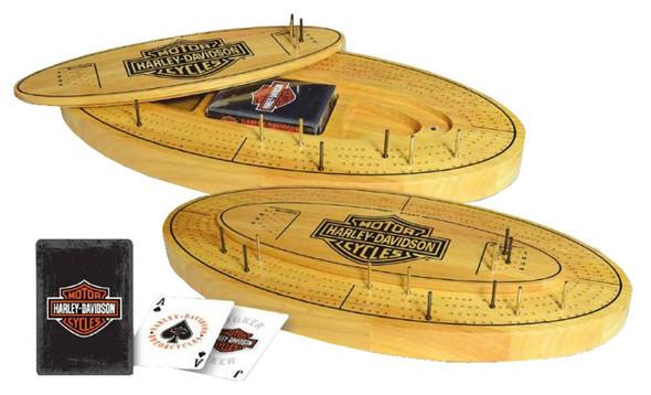 Harley-Davidson Bar & Shield Cribbage Board Wooden 66901 - Wisconsin Harley-Davidson