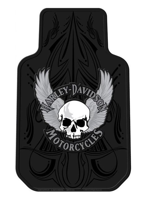 Harley-Davidson Floor Mats, Winged Skull Universal-Fit Front, Set of 2 Mats 1404 - Wisconsin Harley-Davidson
