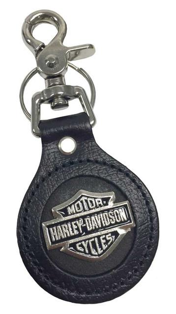 Harley-Davidson Bar & Shield Emblem Round Leather Key Fob, Black K70H - Wisconsin Harley-Davidson